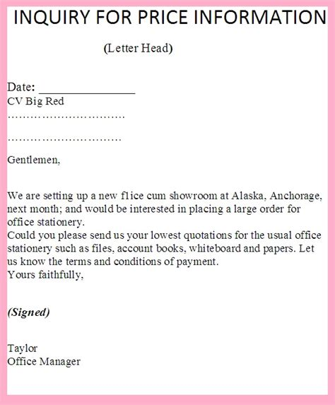 Business Letter Quotation Enquiry inquiry letter for asking or requesting price list or