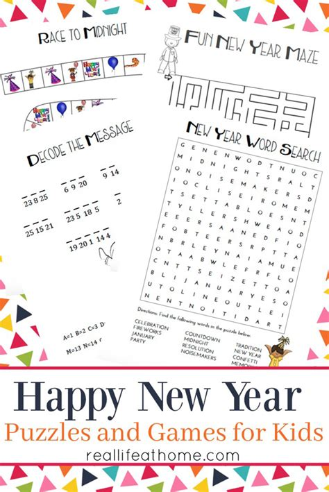 new year puzzles worksheets new year s and puzzles for printables packet