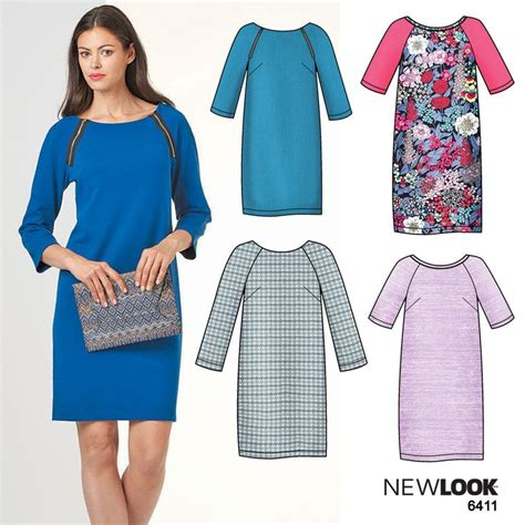pattern lock new style easy to sew shift dress with raglan sleeves using newlook