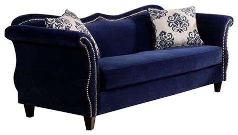 royal blue sofas fabric sofa with nailhead trim royal blue traditional sofas by silver coast company