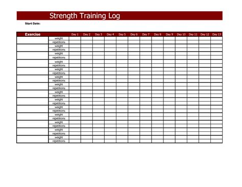 weight lifting template excel best photos of log template employee
