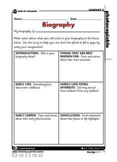 biography interview questions for high school students biography graphic organizer elementary reading