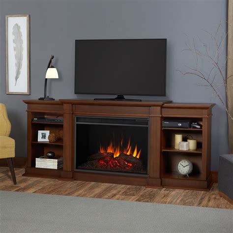 real fireplace tv stand real eliott grand 81 in electric fireplace tv stand