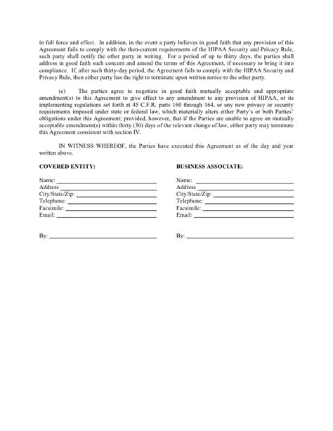 faith agreement template sle business associate agreement