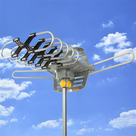 hdtv motorized remote outdoor lified antenna 360 176 uhf vhf fm hd tv 150 ebay