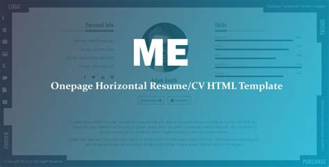 Cv Resume Maker Nulled nulled template me onepage horizontal resume cv