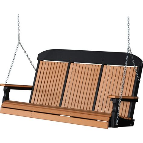5 foot swing poly 5 foot classic highback outdoor porch swing cedar