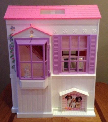 barbie folding doll house 1996 mattel barbie house tri fold out pink doll house vintage what s it worth