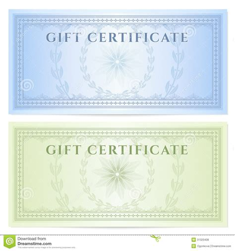 money design template gift certificate voucher template with pattern royalty