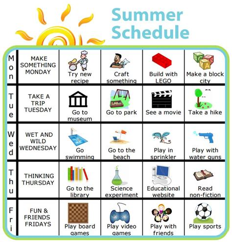 printable visual schedule for toddlers 56 best summer with the kids images on pinterest screens