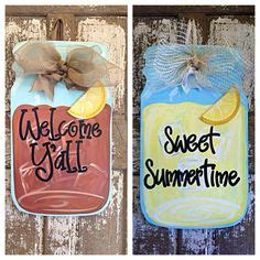monogram burlap mason jar door sign hanger jars masons and signs