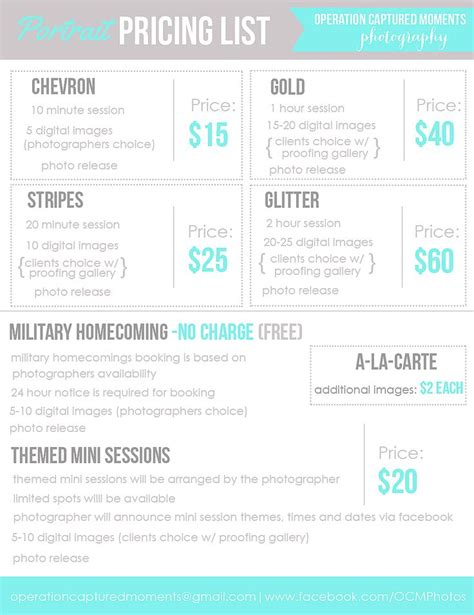 photography price list template branding photography price list