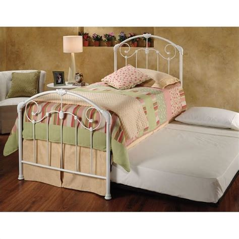 roll out beds hillsdale maddie white twin metal panel bed with roll out
