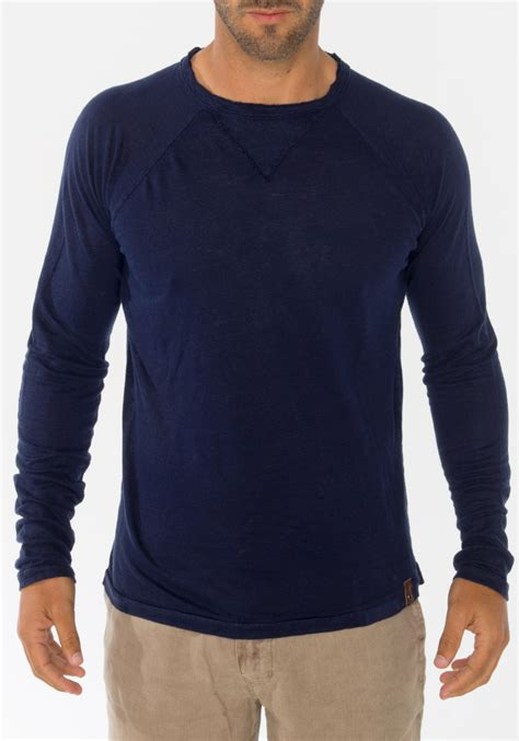 Sleeve Navy Blue Blouse by 100 Jersey Linen Sleeve T Shirt In Navy Blue Shop
