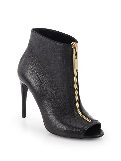 Peep Toe Booties Galore by Burberry Brooksmead Leather Peep Toe Booties In Black Lyst