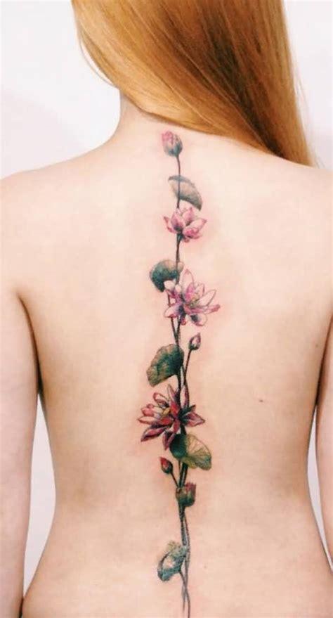 flower tattoo girl back 50 amazing spine tattoo for girls golfian com