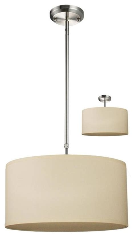 three light brushed nickel white linen shade drum
