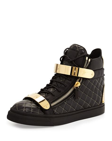 mens high top black sneakers giuseppe zanotti quilted leather high top sneakers in