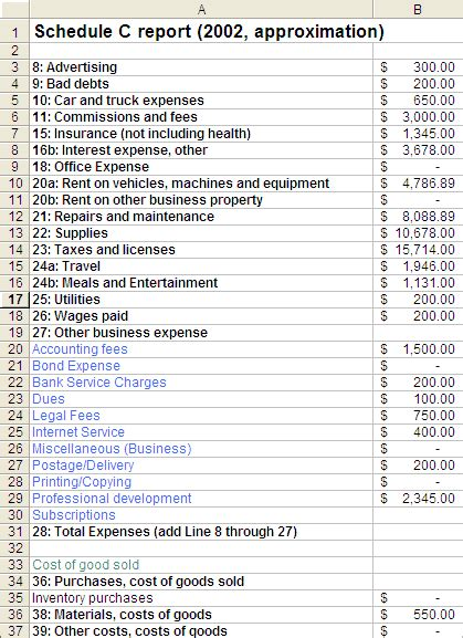 Keep Track Of Your Business Expenses With This Download Techrepublic Schedule C Expense Excel Template