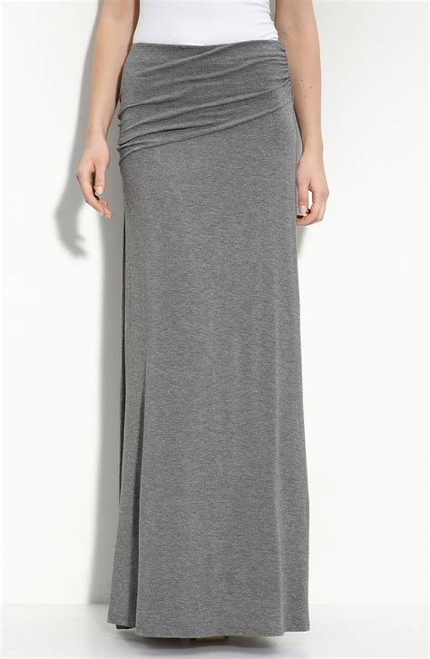 knit maxi skirt bobeau asymmetric knit maxi skirt in gray charcoal lyst