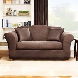 Sofa Covers For Leather Sofa Sure Fit Stretch Leather 2 Sofa Slipcover Brown Walmart