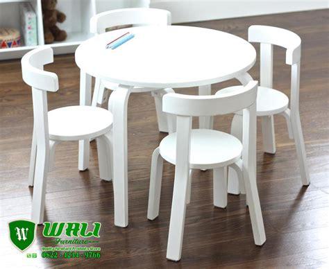 Meja Kursi Anak Tk meja belajar anak tk warna putih model bundar minimalis