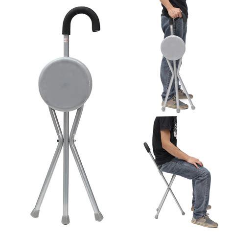 ipree outdoor travel folding stool chair portable tripod cane walking stick seat camping hiking