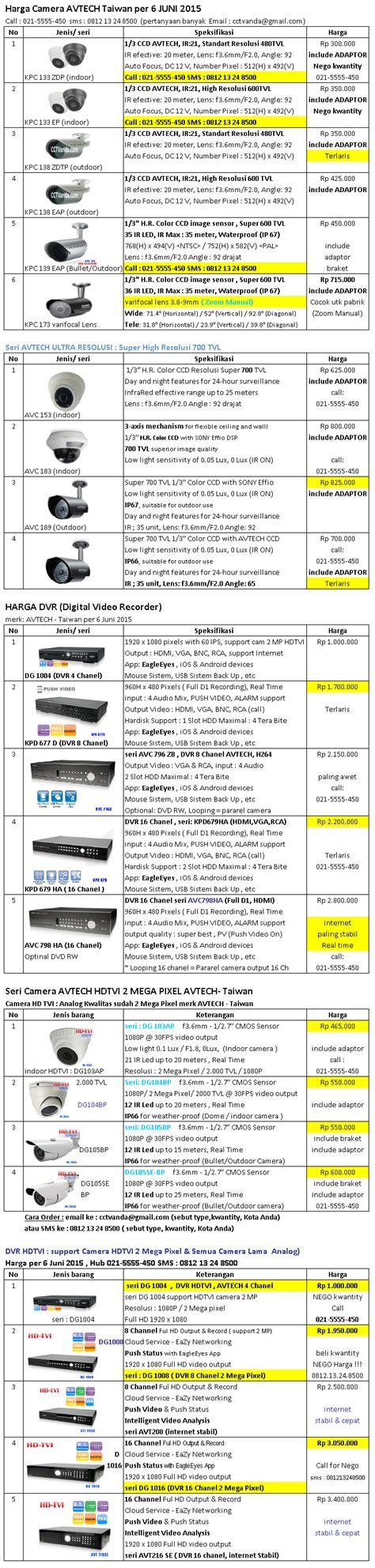Harga Pers Merk Pers harga cctv dvr avtech per 06 juni 2015 paket cctv
