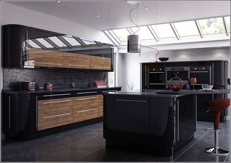 glossy black kitchen cabinets rooms