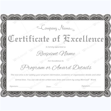 certificate of excellence templates 89 award certificates for business and school events
