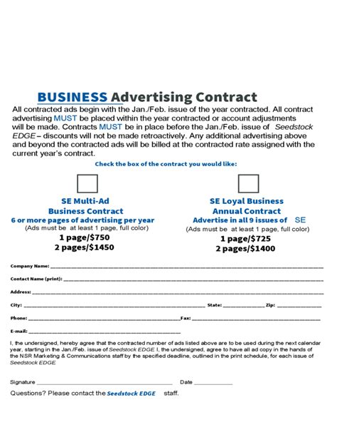 business advertising contract free download