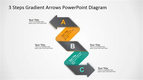 3 Steps Gradient Arrows Powerpoint Diagram Slidemodel Arrows For Powerpoint Presentations