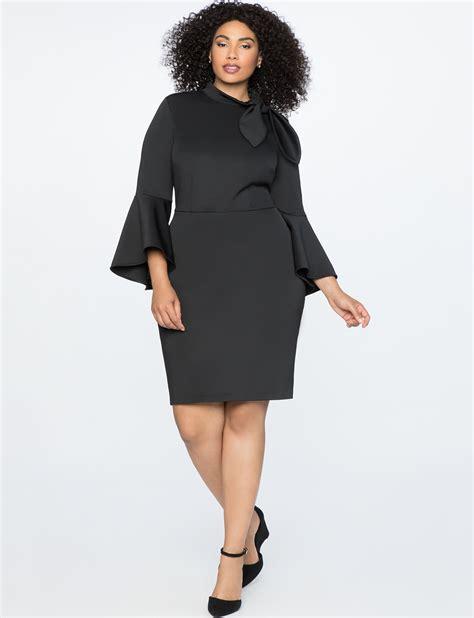 Sleeve Tie Neck Dress tie neck flounce sleeve dress s plus size dresses