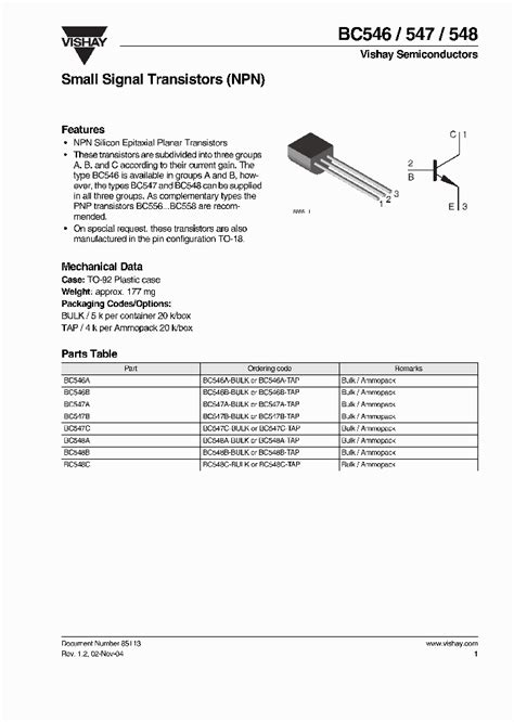 bc548 transistor pin description bc548c bulk 3896983 pdf datasheet ic on line