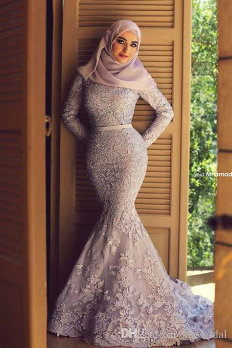 Dress Kekinian muslim lace wedding dresses 2015 sleeves zipper back mermaid wedding gowns appliques beaded
