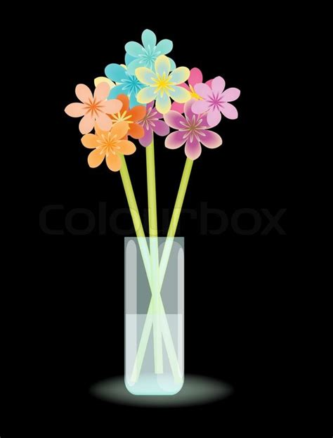 Flowers In Vase With Water by Multicolored Stylized Flowers In Vase With Water Stock