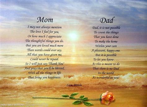 mom dad poems personalized print anniversary christmas  gift  parents dads