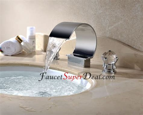 stainless steel bathroom fixtures contemporary stainless steel waterfall bathroom faucets faucetsuperdeal com prlog