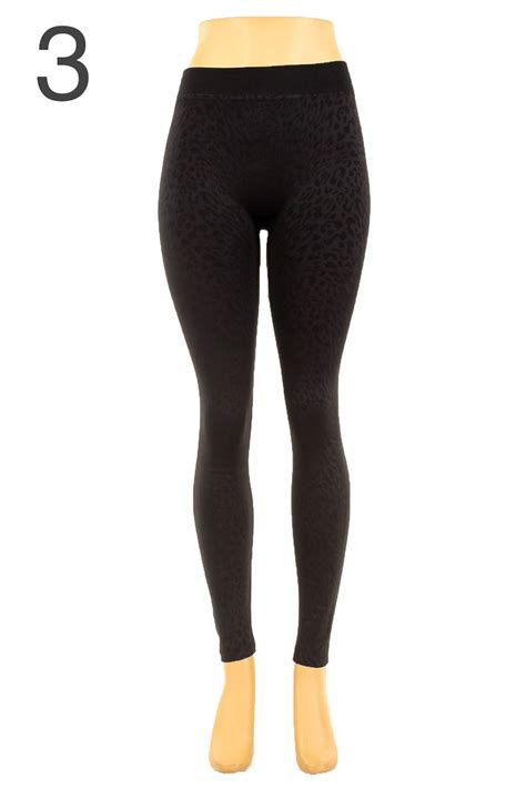 40199 Black Lined Tight Size S womens textured print fleece lined black winter fur warm one size s m l ebay