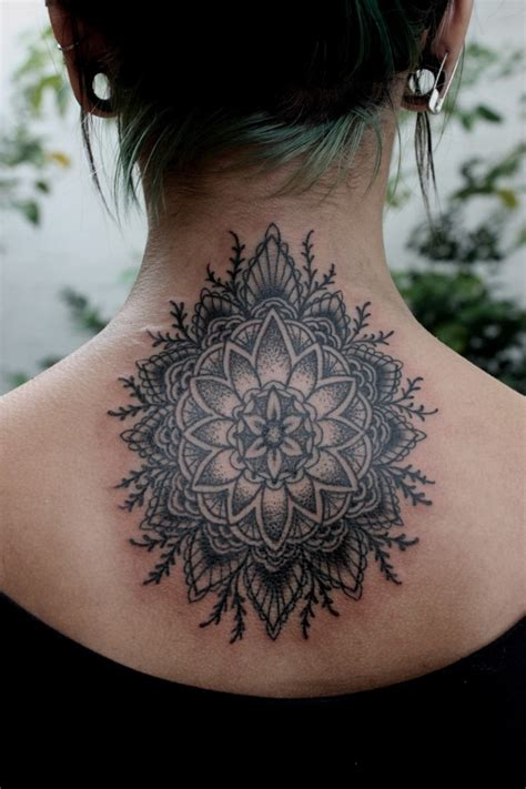 cool interesting black mandala flower tattoo on back