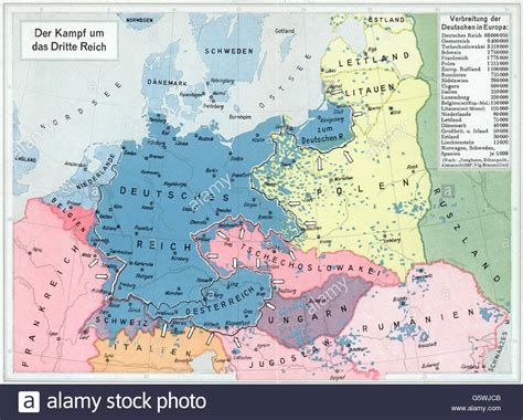germany 1930 map map distribution of the germans in europe 1930s stock