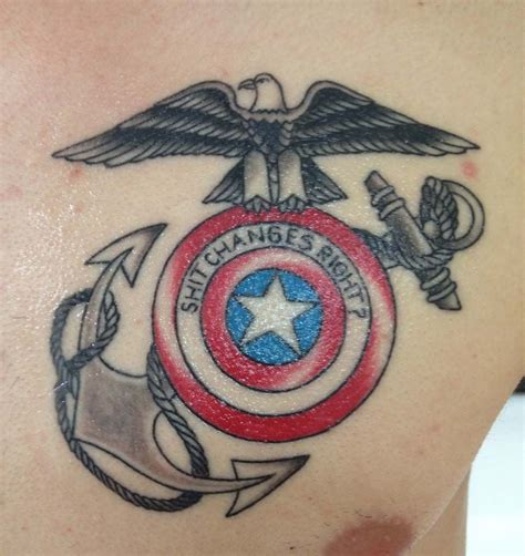 usa tattoos marine captain america best of both worlds