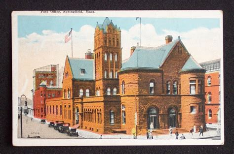 Springfield Ma Post Office by 1910s Post Office Springfield Ma Hden Co Postcard