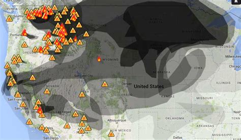 map of oregon 2015 fires smoke from wildfires in northwest affects western states