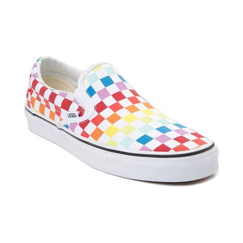 rainbow colored shoes vans slip on rainbow chex skate shoe multi 497267