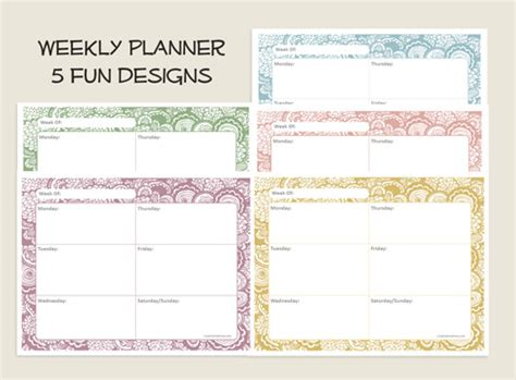 free printable weekly planner there is also matching