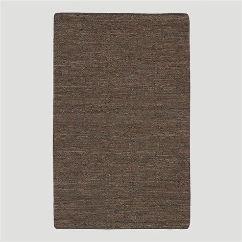 Leather Woven Rug woven leather rug chocolate world market
