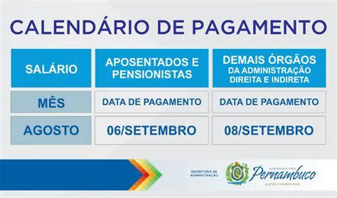 calendario de aposentados e pensionistas 2016 governo de pernambuco divulga calend 225 rio de agosto de