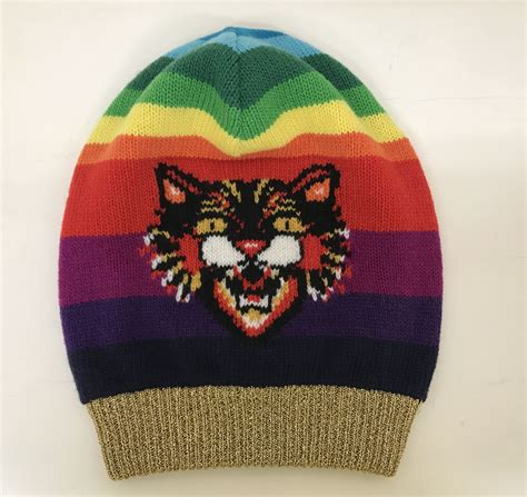 Hat Motif gucci wool beanie hat with angry cat motif in multi modesens