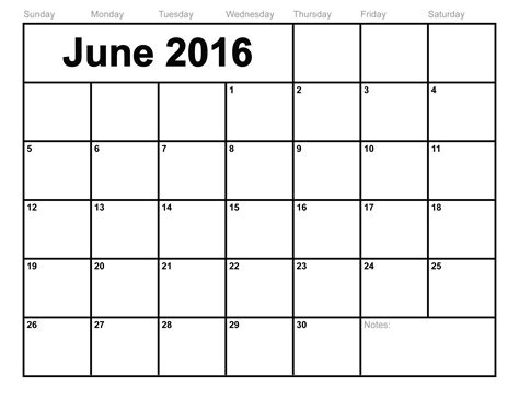 Calendar Of June June 2016 Calendar Printable Template 8 Templates